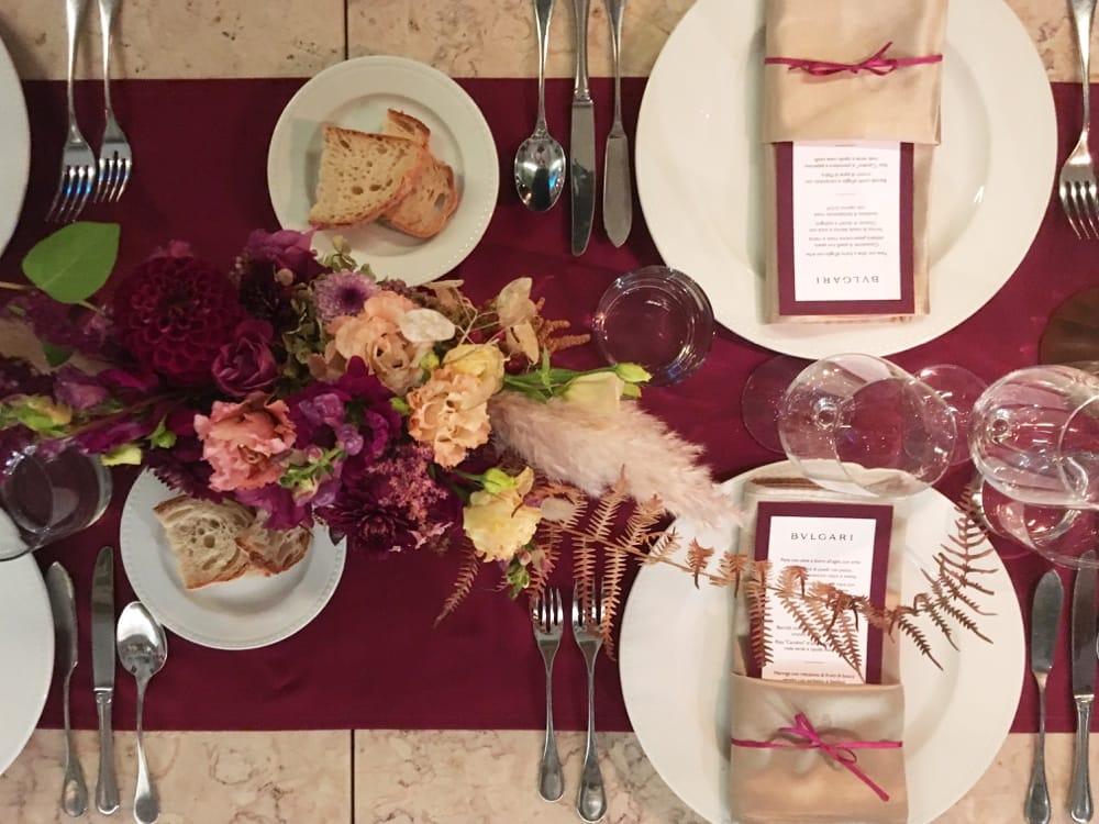 Bulgari, Corporate Dinner for the top management. Event design for Full Swing.